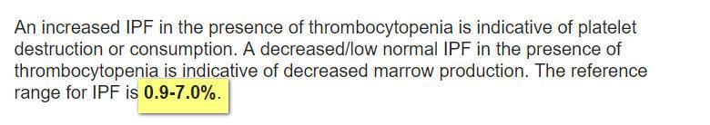 immature platelet fraction normal range